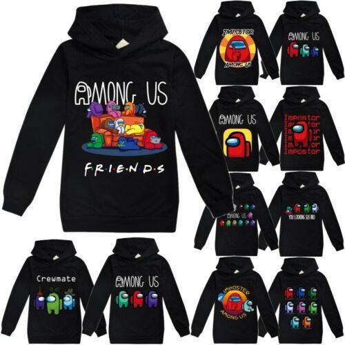 Among US Impostor Kids Boy Girl Hoodie Sweatshirt Hooded Pullover T-shirt Tops