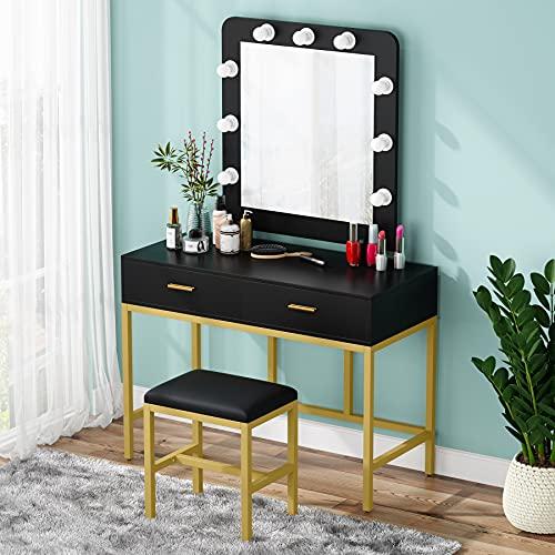 Lighted Mirror Makeup Vanity Table, Black Vanity Set With Light Up Mirror
