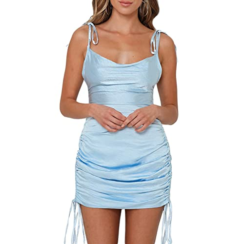 Satin Jacquard Cowl Neck String Along Mini Dress Side Ruched Silky Slip Camisole Dresses