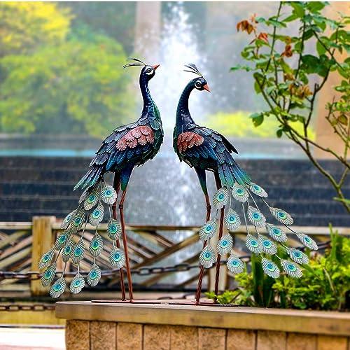 Buy Chisheen Garden Peacock Statues Outdoor Metal Decor Garden Art Sculptures Standing For Patio Yard Lawn Pond Home Decorations Set Of 2 Online In Paraguay B08nvmhlnb