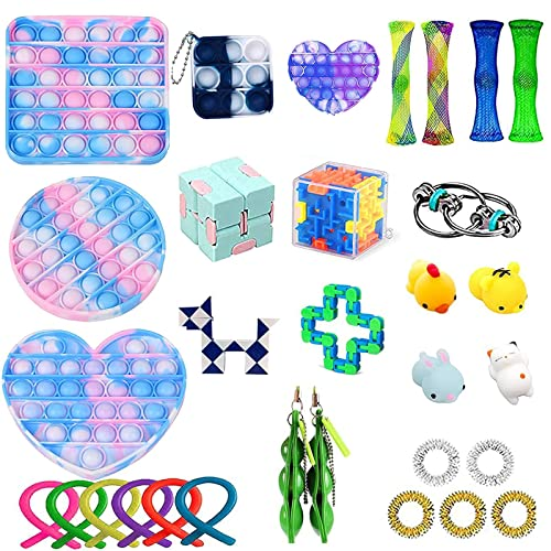 Blue Pop It Fidget Toy Fidget Toys Sensory Toys Pack with Pop Stress Relief Under 10 20 Dollars Push It The Autism Anxiety Cheap Popper Cool Birthday Gift Idea Fidgets for Kids ADHD Autism Stress